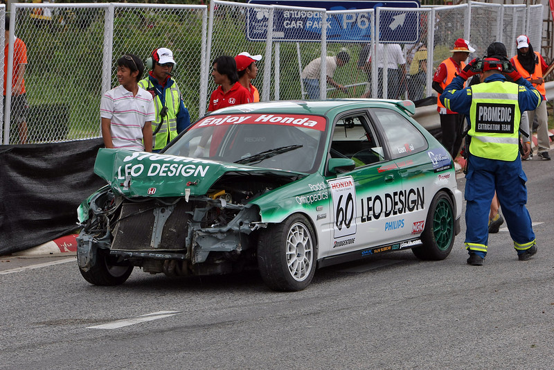 Honda Race Festival, Chiang Mai 2008<br /> Crash in practice session
