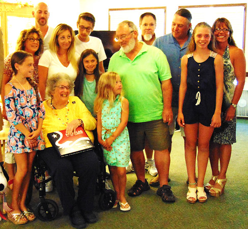 "Debbie Blank | The Herald-Tribune<br /> After Mary married Anthony Gargano, who was a World War II Navy veteran, they had four children. Now the family also includes seven grandchildren and seven great-grandchildren, many of whom were at the ceremony. Of the event, daughter Angie Woessner reported, ""This is a wonderful thing for Mom."" Gargano concluded the ceremony by saying, ""I thank you all for everything and bless all the men and women who are in service."""