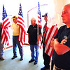 Debbie Blank | The Herald-Tribune     <br /> Indiana Patriot Guard Southeast Indiana Region members (from left) Fritz, Mike Buettner, Dave Tscheulin, Don Schwegman and Tim Kieffer added a patriotic feel to the event by displaying many flags.