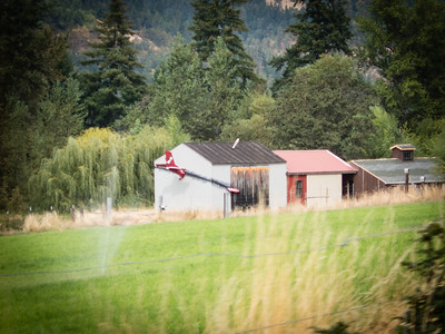 A homeowner with a sense of humor.  A plane crash into his barn, complete with the snoopy on the tail.