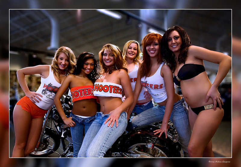 The hottest Hooters Girls around are here from Hooters in Manassas.  In the photo from left to right are Nadine - Mindy - Barbara - Megan - Babbs - and Jen.