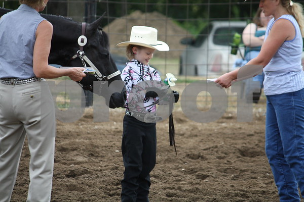 Myah Swanson with her gelding Watch Him Go Slow in the 8 and under Showmanship.