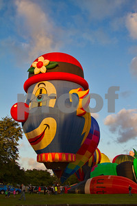 Hot air balloon shaped as a clown.  Hamilton, Waikato, New Zealand