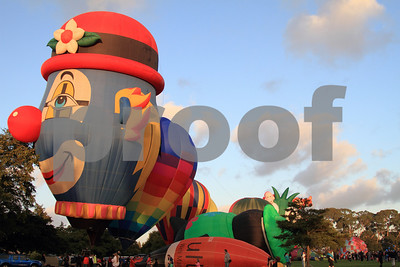 Hot air balloon shaped as a clown in Hamilton, Waikato, New Zealand.  Just before taking off,