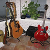 Willie's guitars (L) and Hans' guitar on the right.