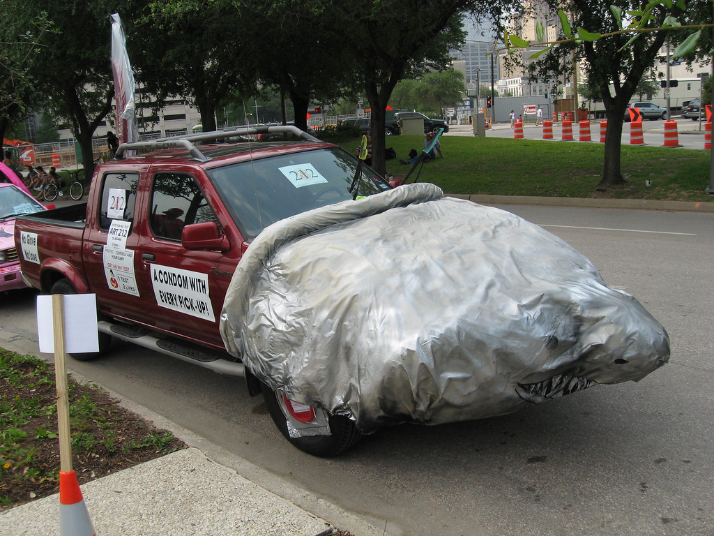 Truck wrapped in a condom