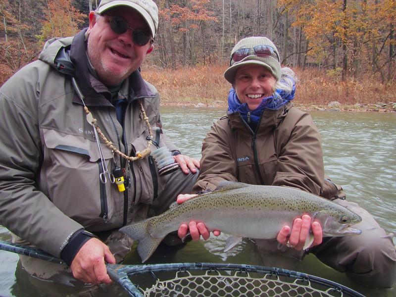 Eighteen Mile Creek Christine with Steelhead and CCO guide Tom, November 2017