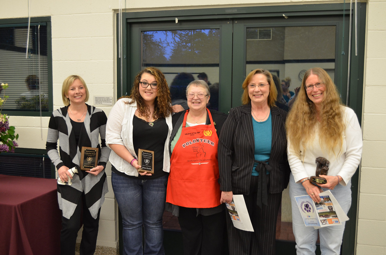 Award recipients and nominees Krystal Kraig, Brianna Bouchie, Barb Cash, Terri Jacobson (nominee), and Denise Smith