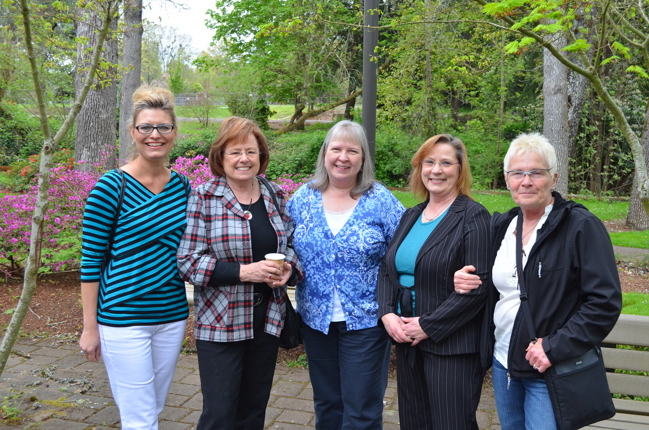 Nominees Melinda and Carole Rossow, and nominee Terri Jacobson with partner and friends at Pringle Creek Community Center