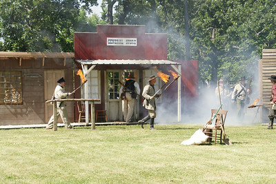 Re-enactment of the burning of Humboldt on Oct 14, 1861 by Confederate Calvary