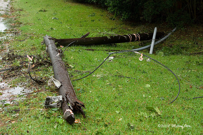 Broken telephone pole. Hurricane Ike aftermath.