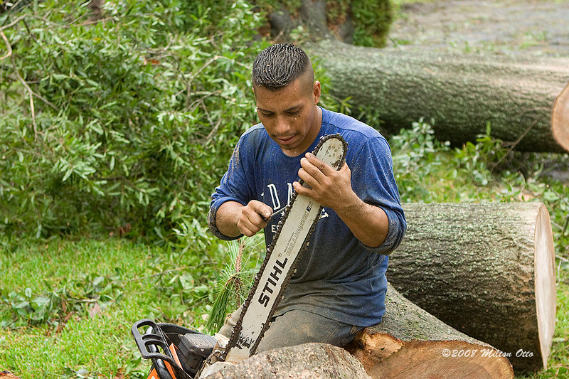 Sharpening a chain saw on the fly. Hurricane Ike aftermath.