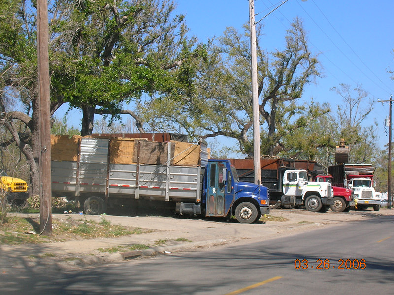 Debri trucks, another common sight.