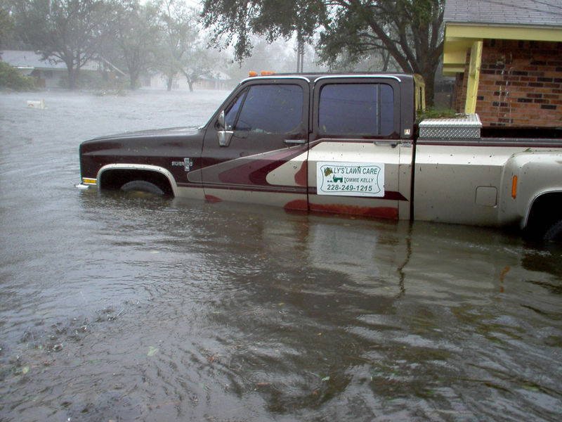 The white mailbox was eventually under water. The current/waves are going north toward HWY 90. There were actual 'white caps' in the street. Location is near I.G. Levy Park.