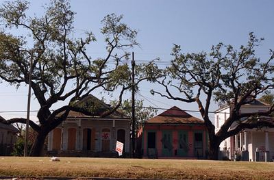 Destroyed homes in the 9th Ward of New Orleans along Elysian Fields Ave.
