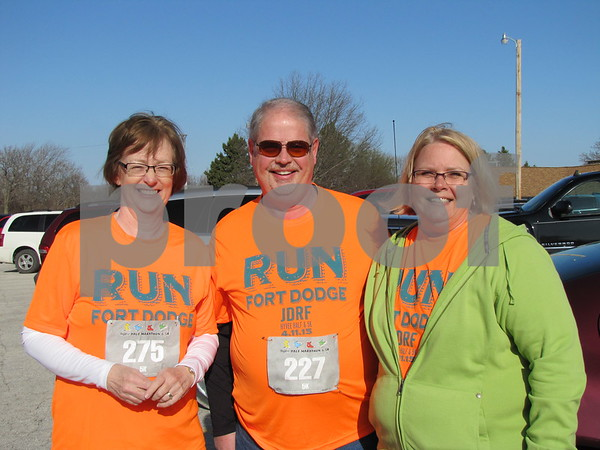 Bev Schreiber, Terry and LuAnne Pavel before the HyVee 5K for JDRF.