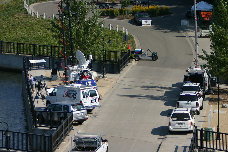 Another view of the news truck area