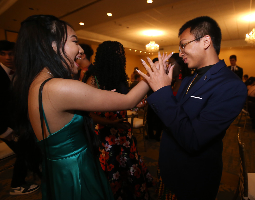 . Innovation Academy Charter School prom.  Mymy Pran, left, and Edward Ou, both of Lowell. (SUN/Julia Malakie)