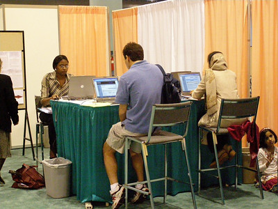 Employers and job seekers accessing the careers online system at the FASEB Career Center/MARC Program Resource Center - IMMUNOLOGY 2007 meeting in South Beach, FL.