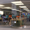 Apple employees ready for the store's opening.