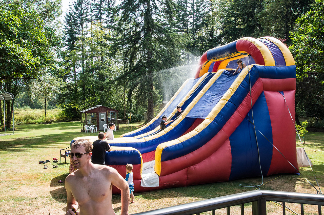 The slide in full swing in the 96 degree heat....good times!
