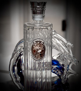 Photo of the incredible bottle IS Vodka uses to hold their vodka made with 2400 year old water from Iceland.