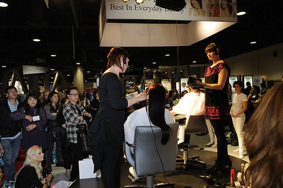 Hair demonstration at the P&G booth