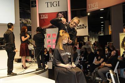 Hair demonstration at the TIGI booth