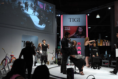 Hair cutting  demonstration at the TIGI booth