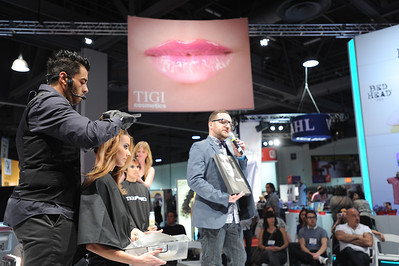 Styling going on at the TIGI booth