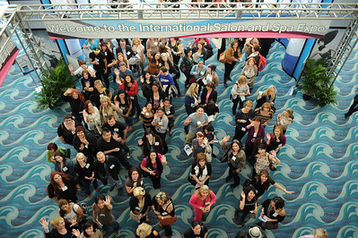 Excited beauty professionals heading down to the show floor