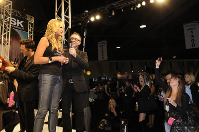 Nancy O' Dell, from Access Hollywood, at the Rusk booth