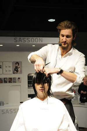 Hair demonstration at the Sassoon booth - ISSE Long Beach 2012