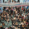Beauty professionals line up to enter the first day of ISSE Long Beach 2013. (Jan. 26, 2013)