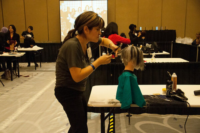 Competitors at the ISSE Long Beach 2013 hair competitions.