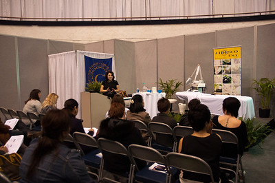 Lydia Sarfati, Founder of Repechage presents a CIDESCO skin care class at ISSE Long Beach 2013.