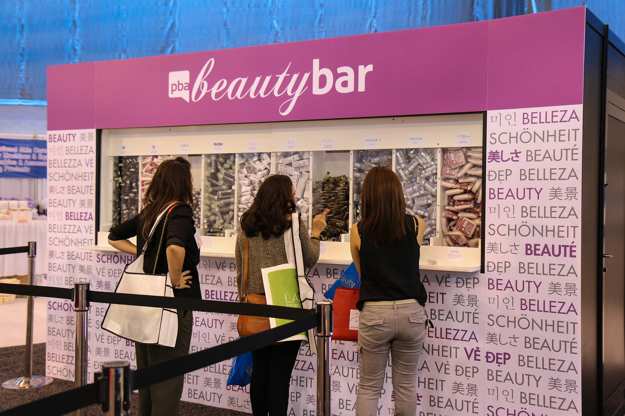 Enthusiastic shoppers visit the PBA Beauty Bar to select their favorite samples.