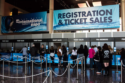 Lines are formed to purchase tickets at the first day of ISSE Long Beach 2014.