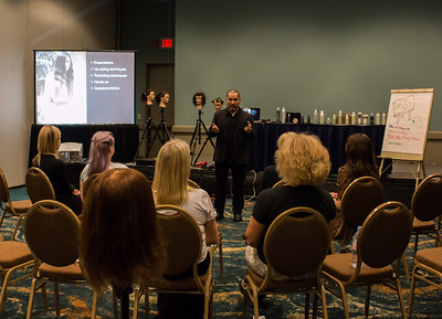 Allen Ruiz shares hair styling tips in this Aveda class at ISSE Long Beach.