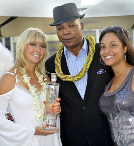 Photo of Carl Weathers born on January 14, 1948, in New Orleans, Louisiana with ISVodka and IS Angel with ISVodka Brand Ambassador Shay at the Emmy Awards Celebrity Gift Lounge in the Luxe Hotel. Celebrities and VIPs will have the opportunity to see, smell and taste ISVodka at the 2009 Emmy Awards Celebrity Gift Lounge on Thursday, September 17 from 10am-7pm at the Luxe Hotel in the Penthouse.