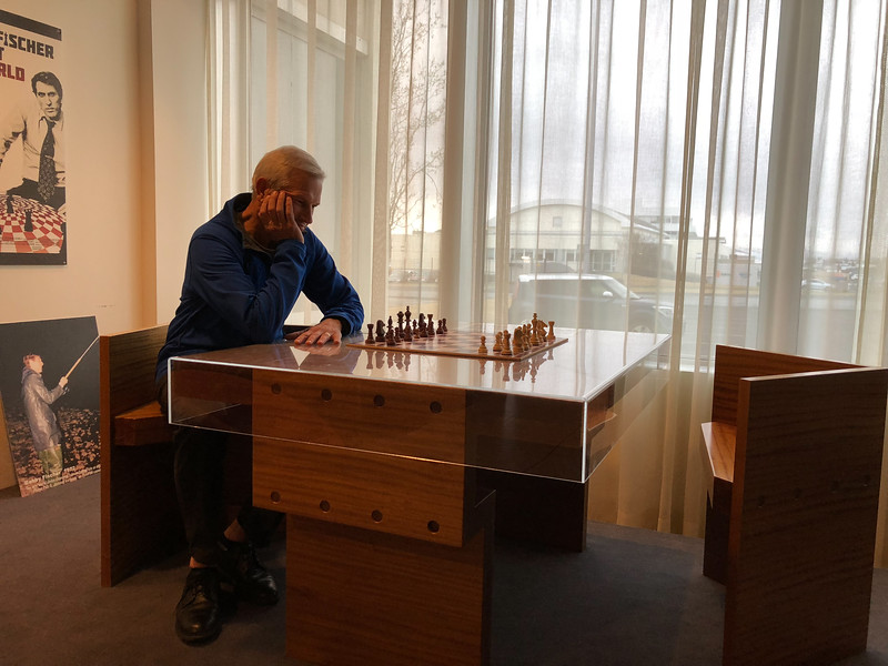 Our hotel was the location of the 1970s match between Bobby Fischer and the USSR. This was the table on which the match took place, and one of the chess boards.