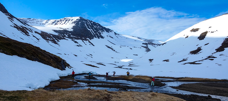 Here's our group walking out after skiing down this drainage, day 3. The zodiac can naturally only go so far, so we often had to walk to the snow line. That was fine, but walking on slippery seaweed in ski boots was an acquired skill.