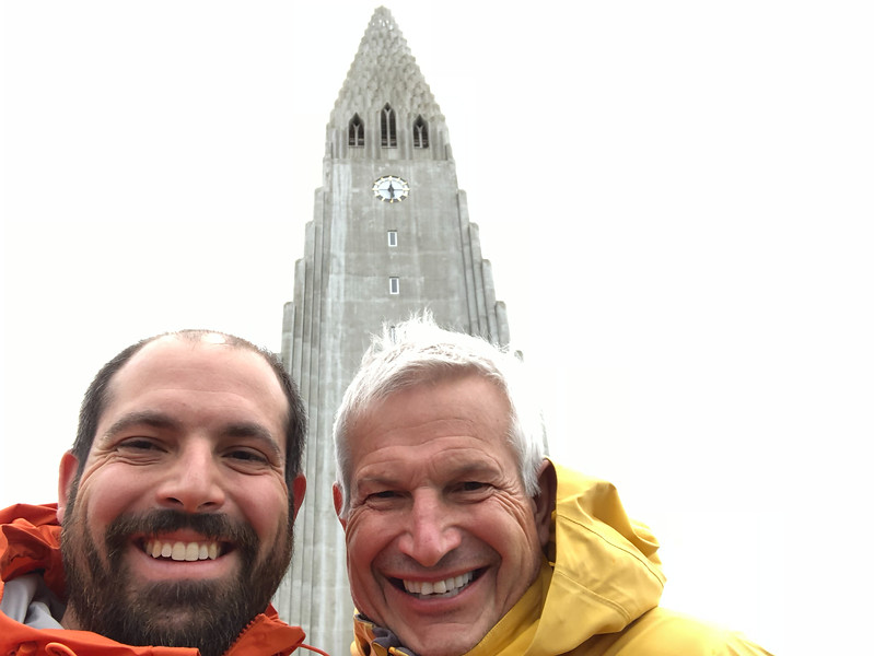 Dad and I in front of Hallgrimskirkja. Apparently you can hike to the top of this, which would be a stunning view (it's definietly the highest point around). We opted to work toward dinner instead.