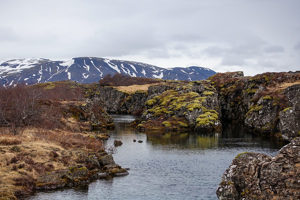 Stream formed by the fissures at Thingvellir national park.