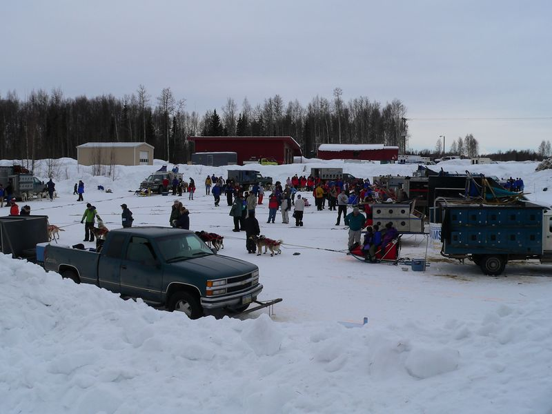 One of three separate staging areas where the various mushers were assigned a spot to prepare the team.