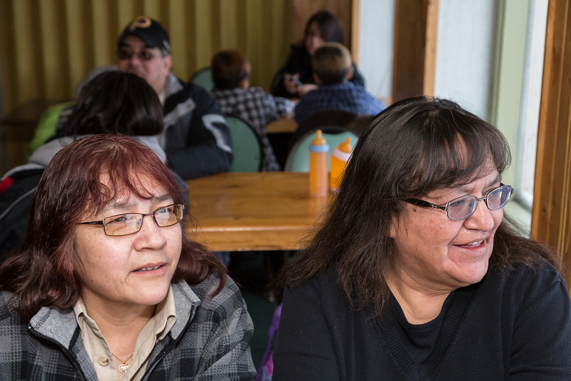 Family Reunion: Alice and Ignace Sutherland 2014 February 15th in Moosonee. Linda Gertrude Wesley and Denise Metatawabin.