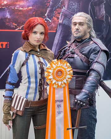 Kristina as Triss and Valery as Geralt from Witcher 3 at Igromir 2013
