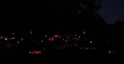 The park, full of lanterns.