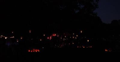 The park, full of lanterns.