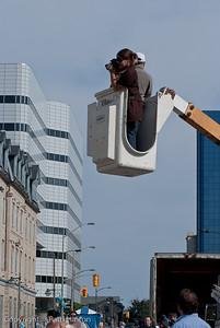Overhead shot - artist Melanie Stimmell taking shots of finished Sistine Chapel project